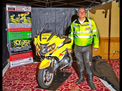 The rider of the donated Blood Bike which was presented by MEGS today