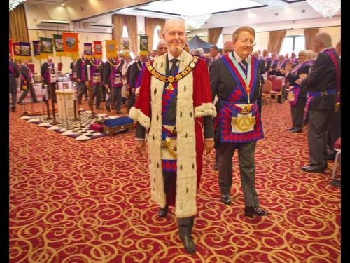The MEGS leaves Provincial Grand Chapter accompanied by the PGM